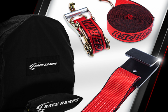 Card image cap for Race Ramps Ratchet Straps, Wheel Nets and Tire Covers