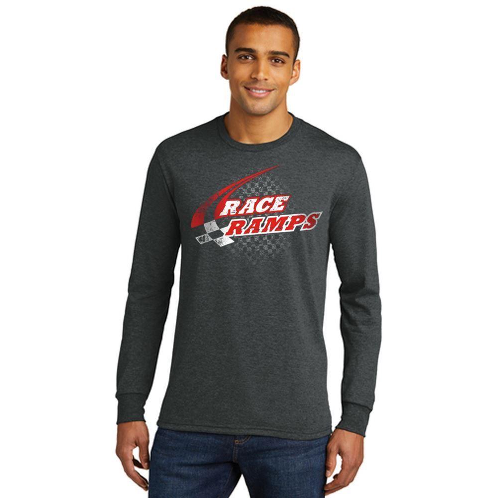RR-BFLS01-M-M Race Ramps Checker Logo Mens Long Sleeve Crew Neck T-Shirt - Medium