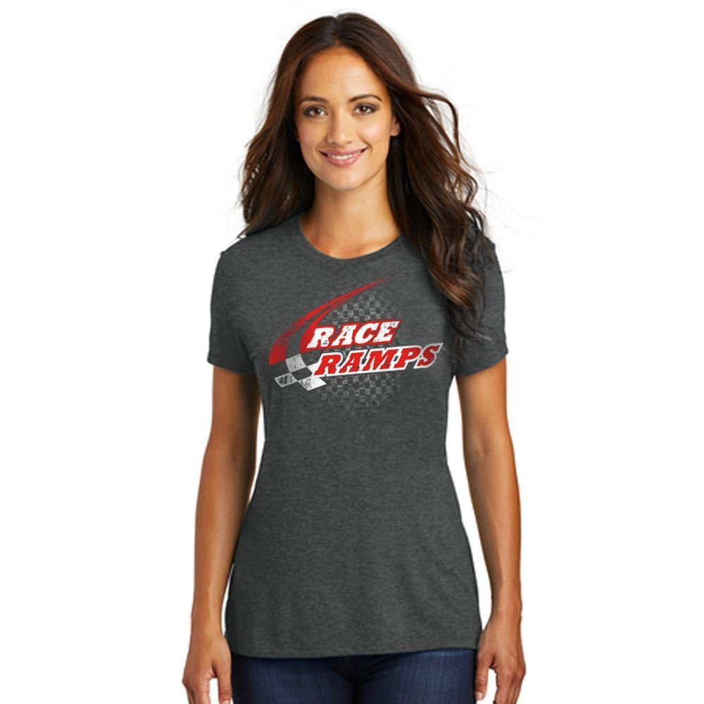 RR-BFSS01-L-M Race Ramps Checker Logo Womens Short Sleeve Crew Neck T-Shirt - Medium
