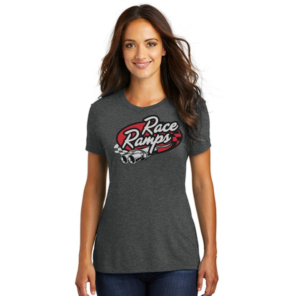 RR-BFSS02-L-SM Race Ramps Tailpipe Logo Womens Short Sleeve Crew Neck T-Shirt - Small