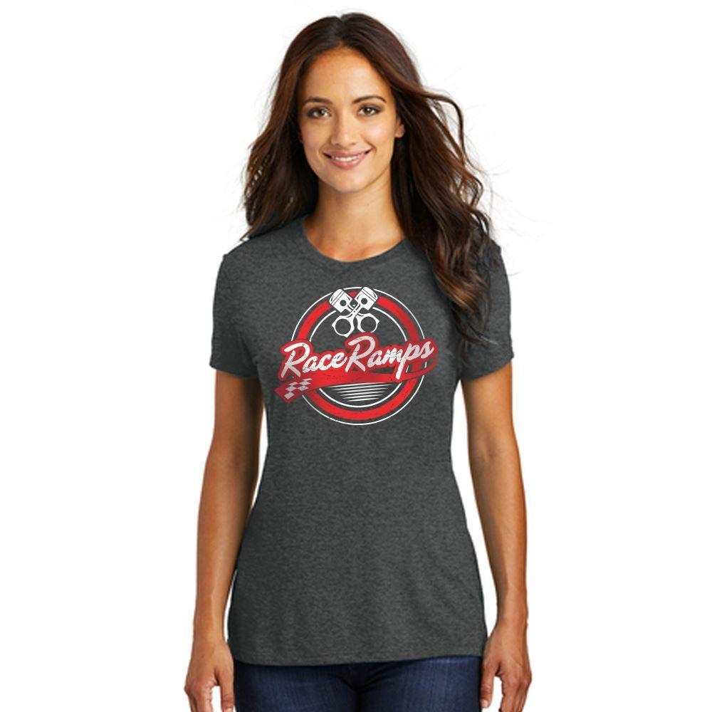 RR-BFSS03-L-SM Race Ramps Circular Piston Logo Womens Short Sleeve Crew Neck T-Shirt - Small