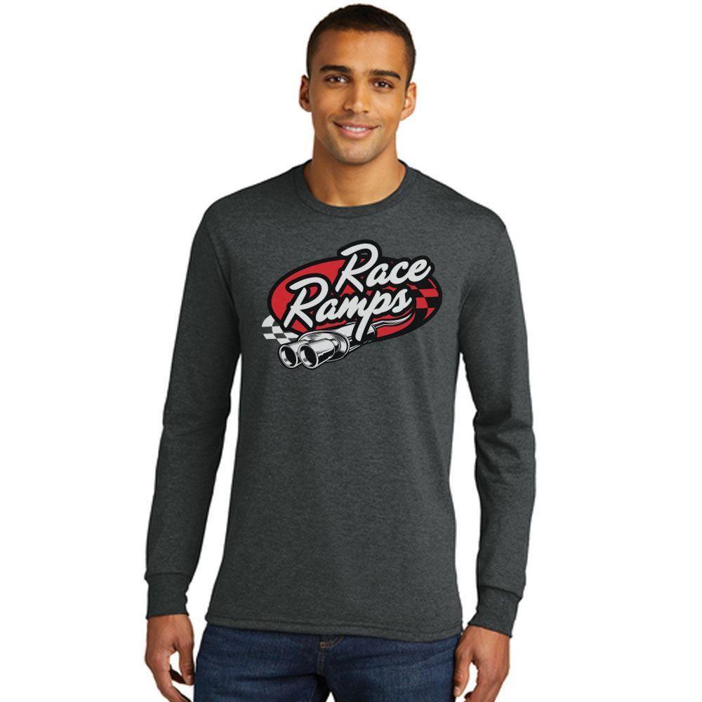 RR-BFLS02-M-L Race Ramps Tailpipe Logo Mens Long Sleeve Crew Neck T-Shirt - Large